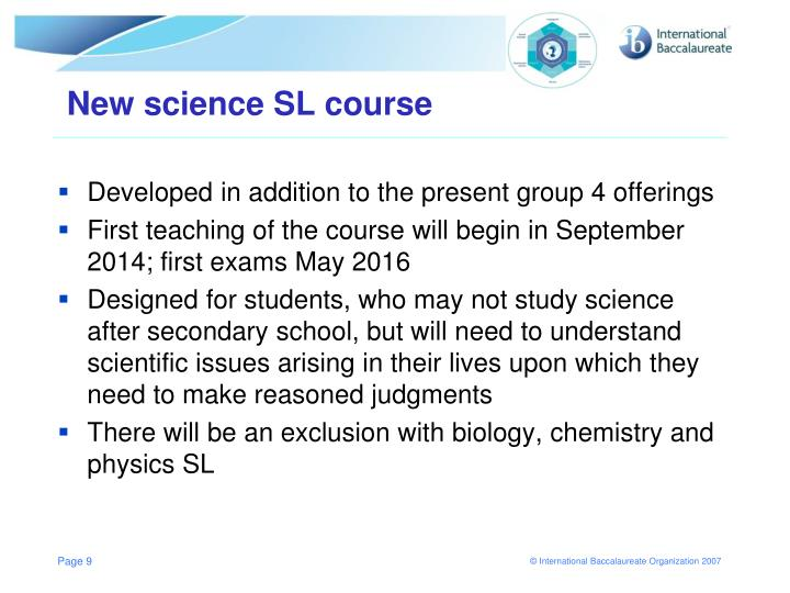 New science SL course