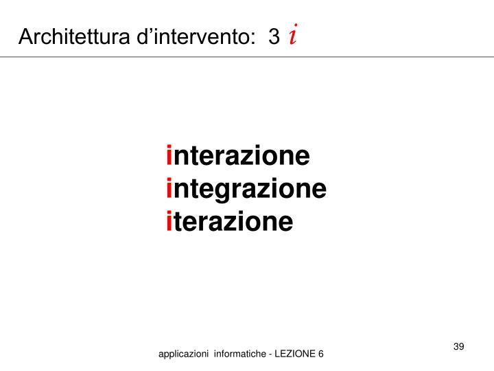 Architettura d'intervento:  3