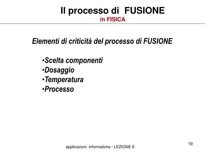Il processo di  FUSIONE