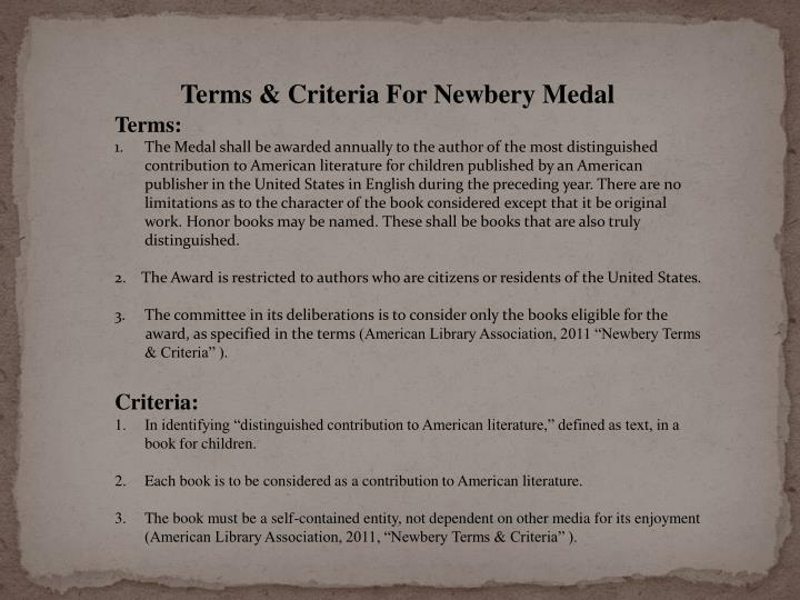 Terms & Criteria For Newbery Medal