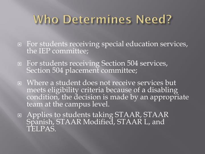 Who Determines Need?