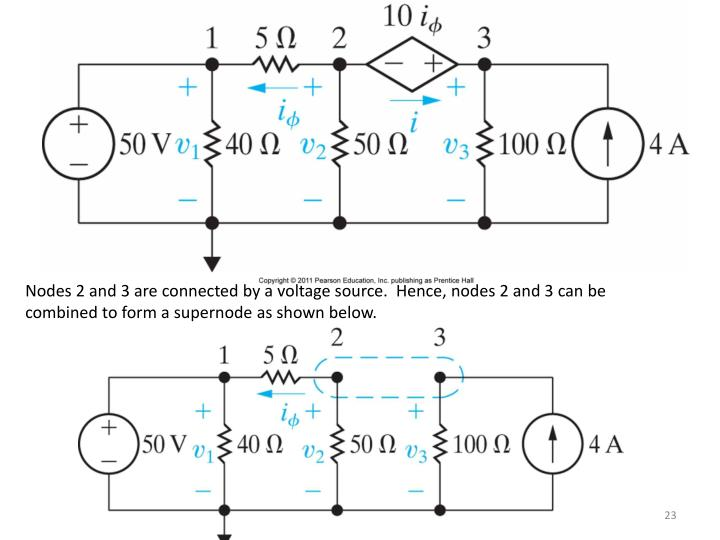 Nodes 2 and 3 are connected by a voltage source.  Hence, nodes 2 and 3 can be combined to form a