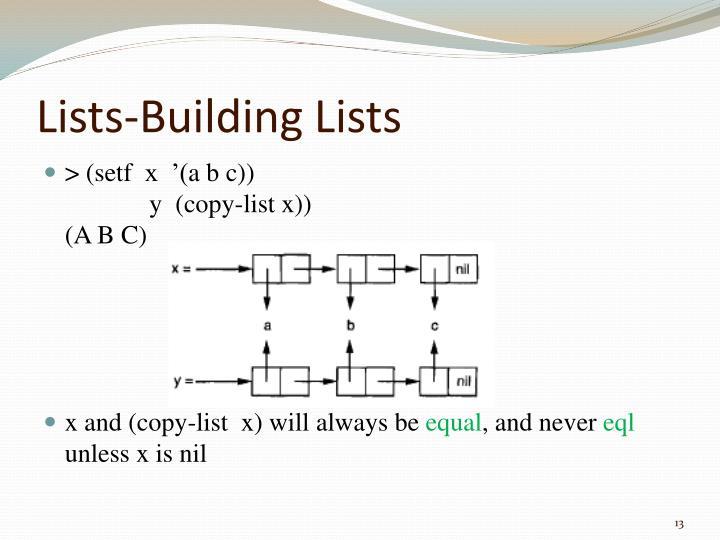 Lists-Building Lists