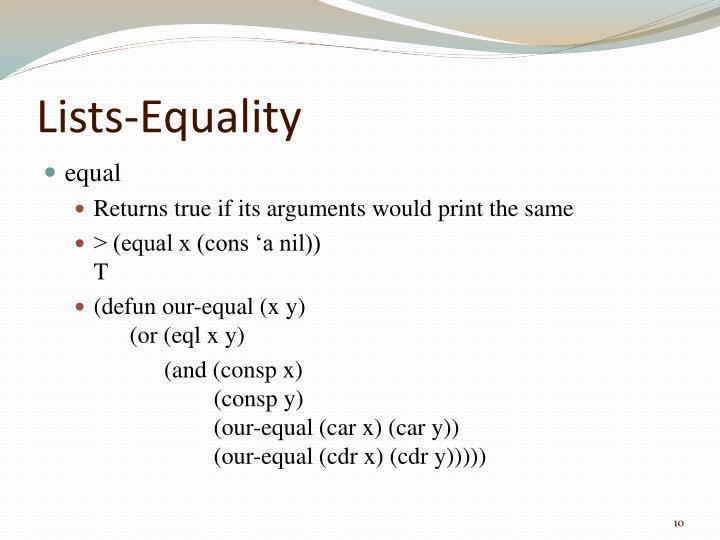 Lists-Equality