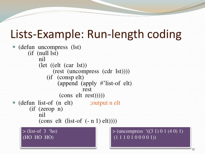 Lists-Example: Run-length coding