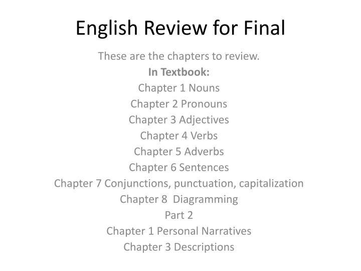 english review for final n.