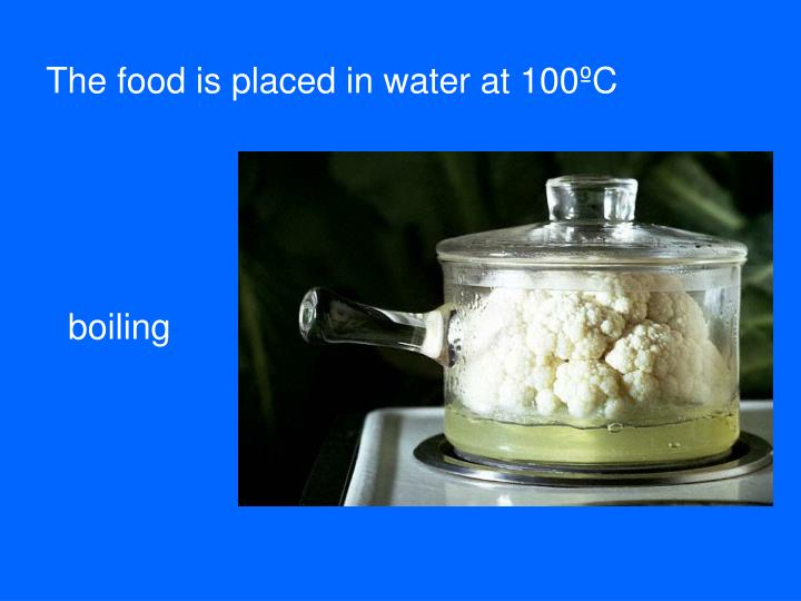 The food is placed in water at 100ºC