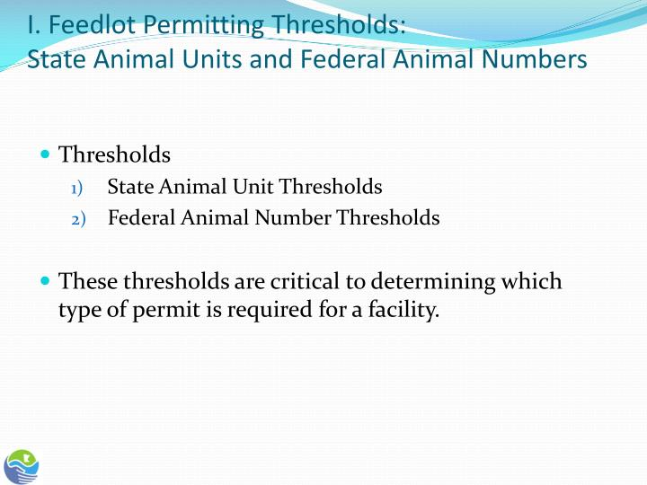 I feedlot permitting thresholds state animal units and federal animal numbers