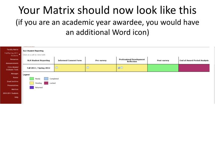 Your Matrix should now look like