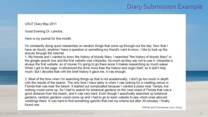 Diary Submission Example