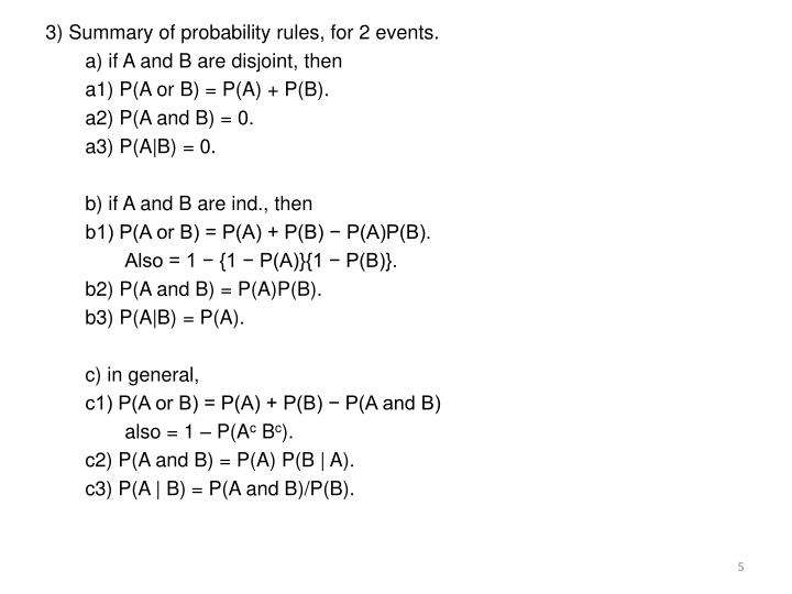 3) Summary of probability rules, for 2 events.