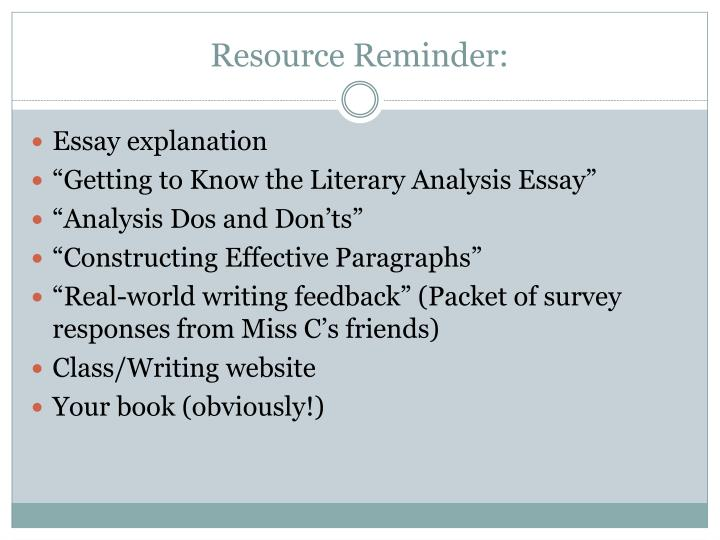 Resource Reminder:
