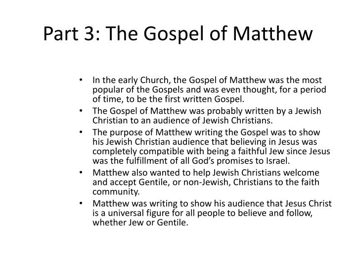 Part 3 the gospel of matthew2