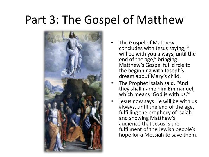 Part 3: The Gospel of Matthew