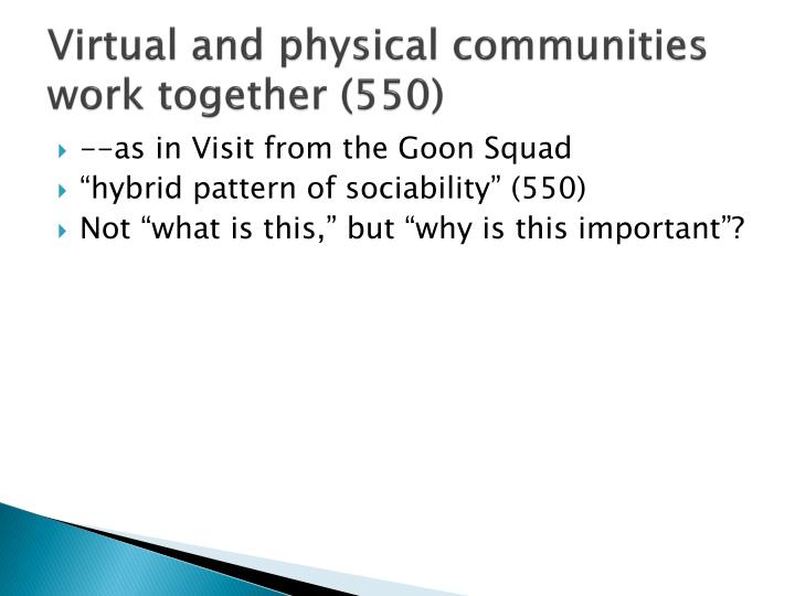 Virtual and physical communities work together (550)