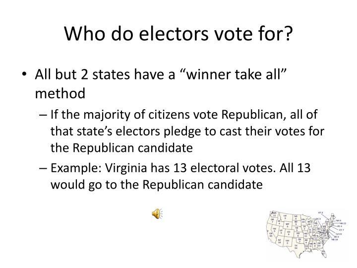 Who do electors vote for?