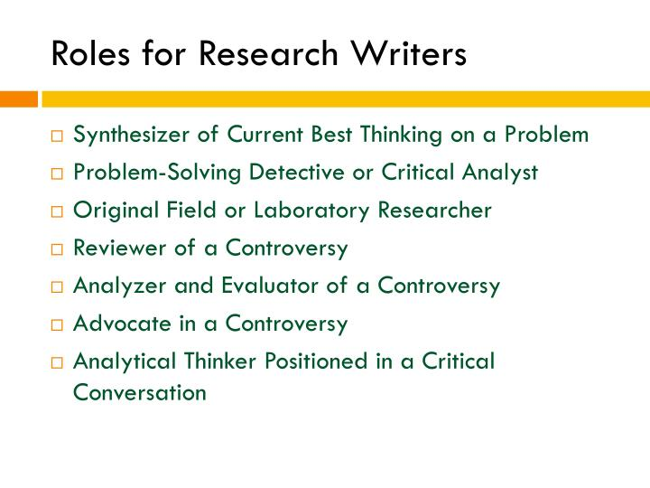 Roles for Research Writers