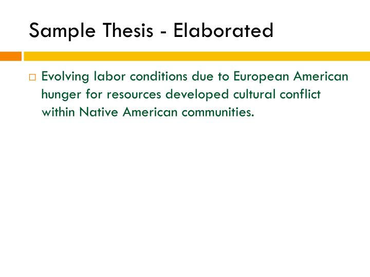 Sample Thesis - Elaborated
