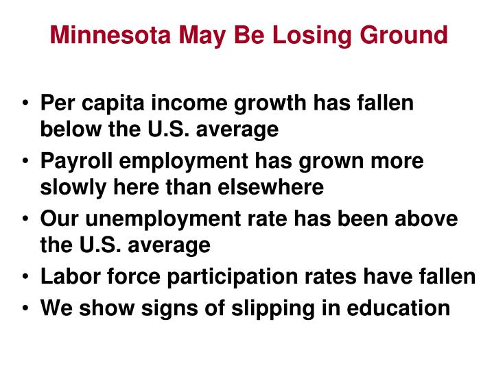 Minnesota May Be Losing Ground
