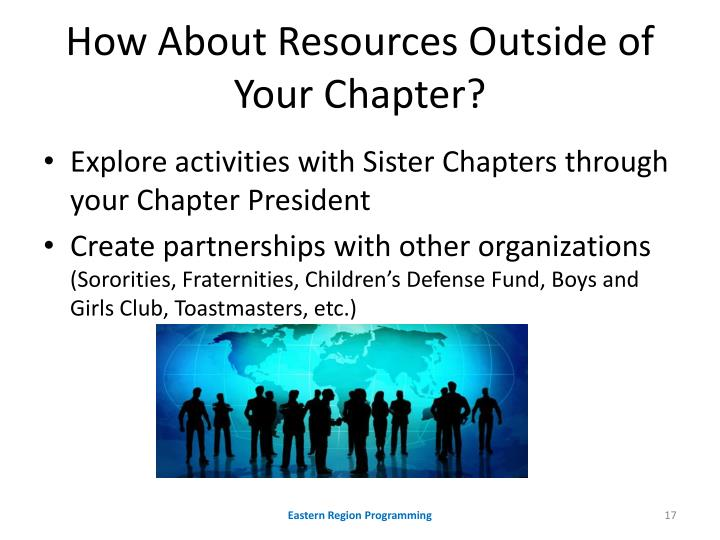 How About Resources Outside of Your Chapter?