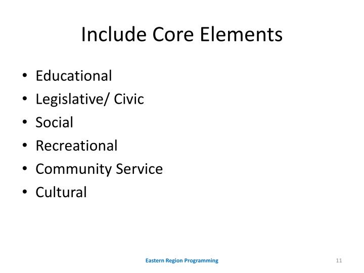 Include Core Elements