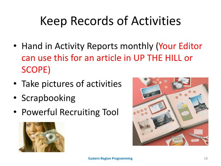 Keep Records of Activities