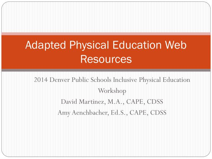 Adapted physical education web resources