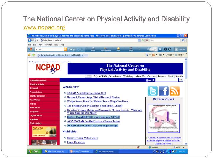 The National Center on Physical Activity and Disability