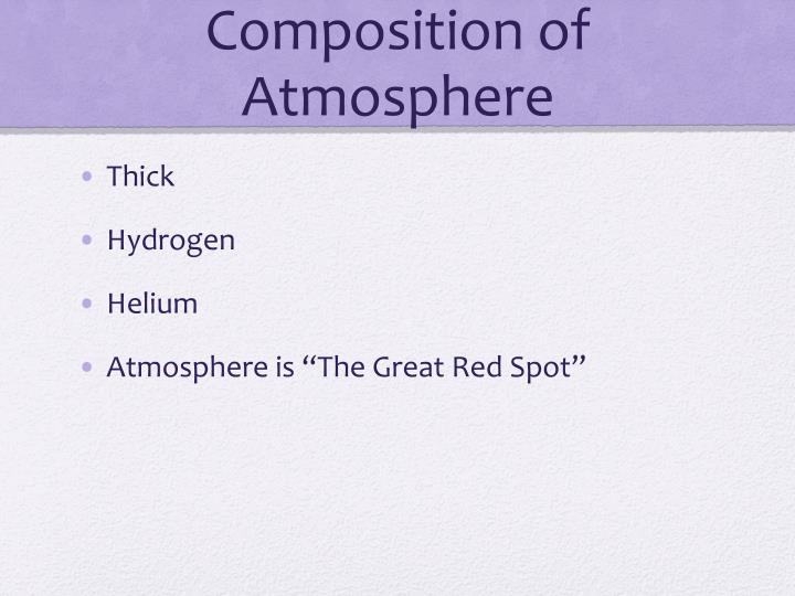 Composition of Atmosphere