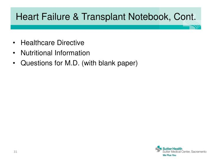 Heart Failure & Transplant Notebook, Cont.