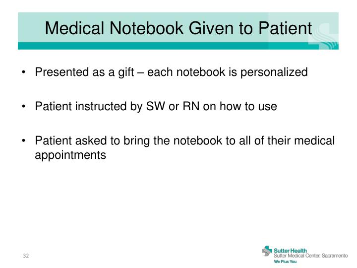 Medical Notebook Given to Patient