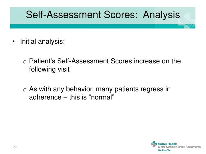 Self-Assessment Scores:  Analysis
