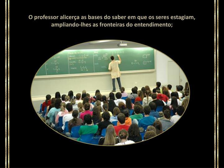 O professor alicerça as bases do saber em que os seres estagiam, ampliando-lhes as fronteiras do entendimento;