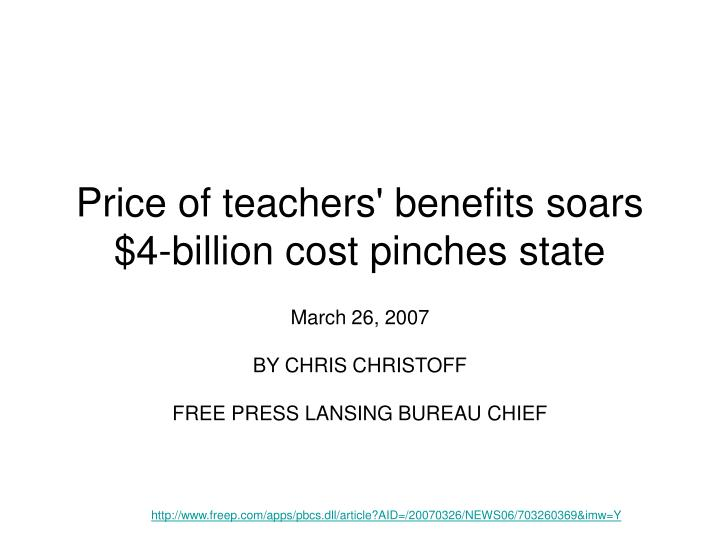 Price of teachers benefits soars 4 billion cost pinches state