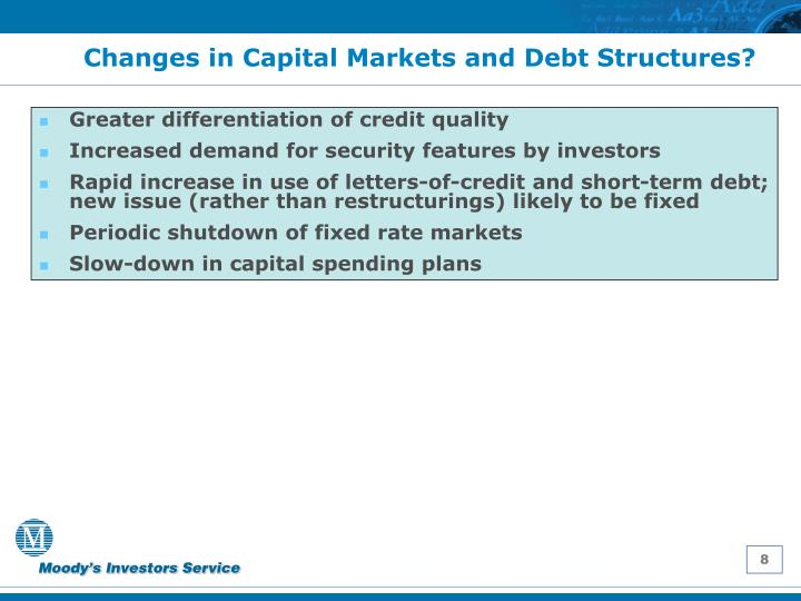 Changes in Capital Markets and Debt Structures?
