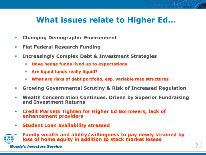 What issues relate to Higher Ed…
