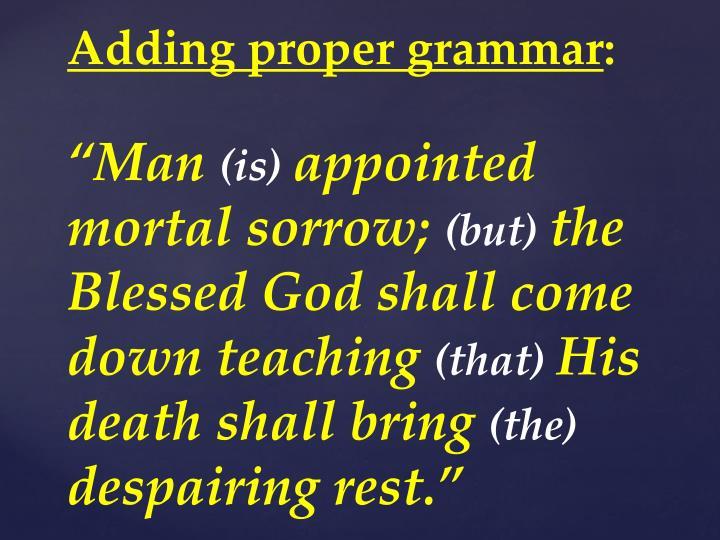 Adding proper grammar