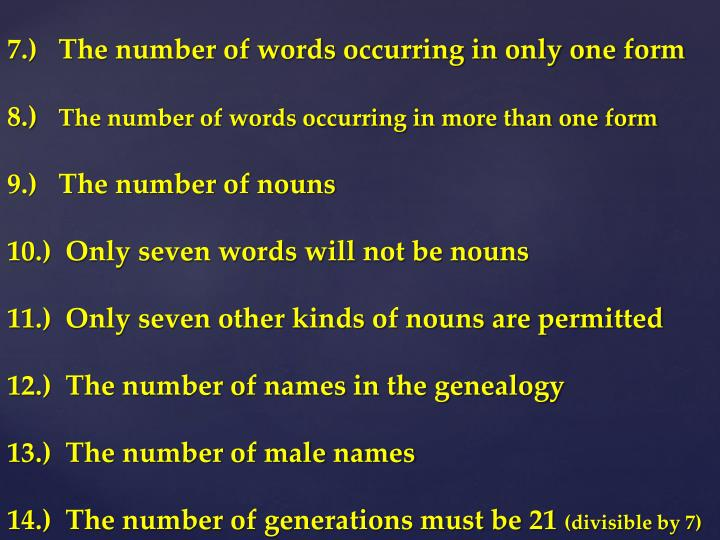 7.)   The number of words occurring in only one form