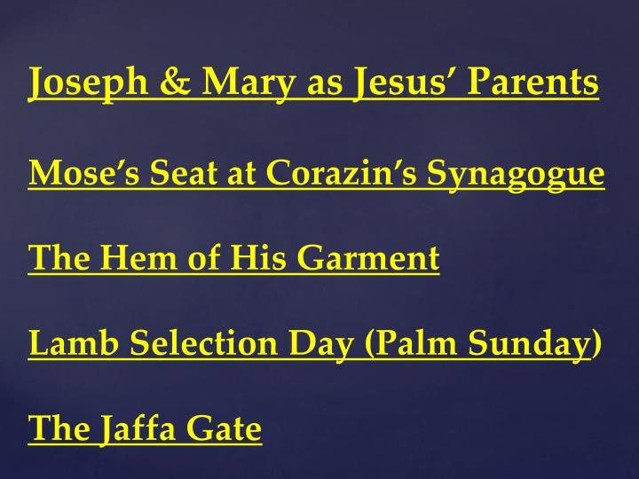 Joseph & Mary as Jesus' Parents