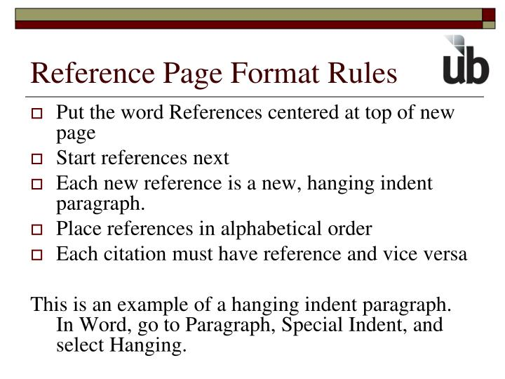 Reference Page Format Rules