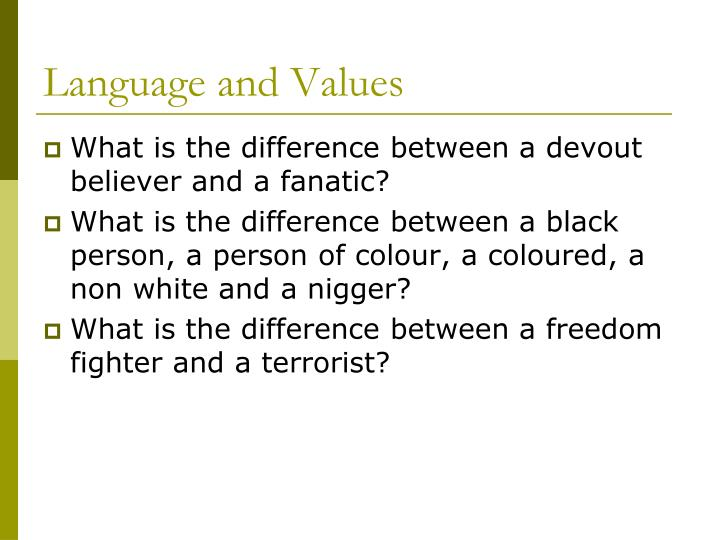 Language and Values