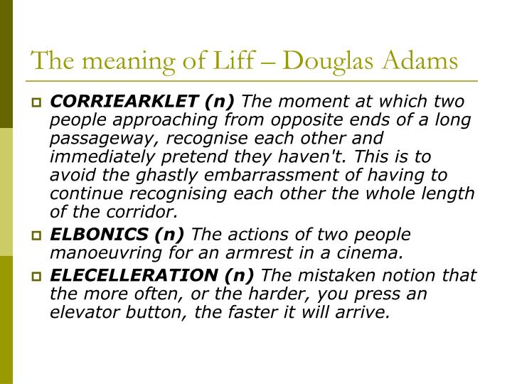 The meaning of Liff – Douglas Adams
