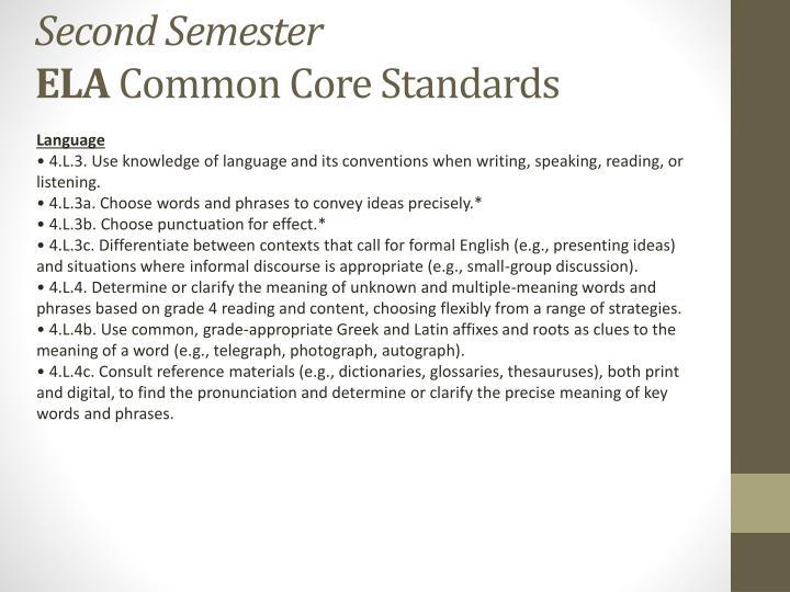 Second semester ela common core standards2