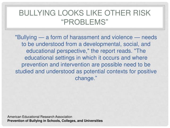 "Bullying looks like other risk ""problems"""