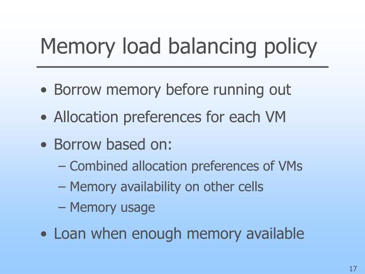 Memory load balancing policy