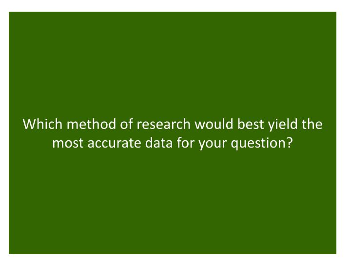 Which method of research would best yield the most accurate data for your question?