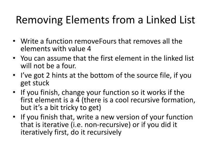 Removing Elements from a Linked List