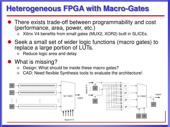 Heterogeneous fpga with macro gates