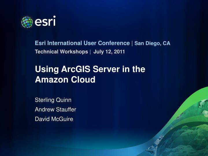 using arcgis server in the amazon cloud n.