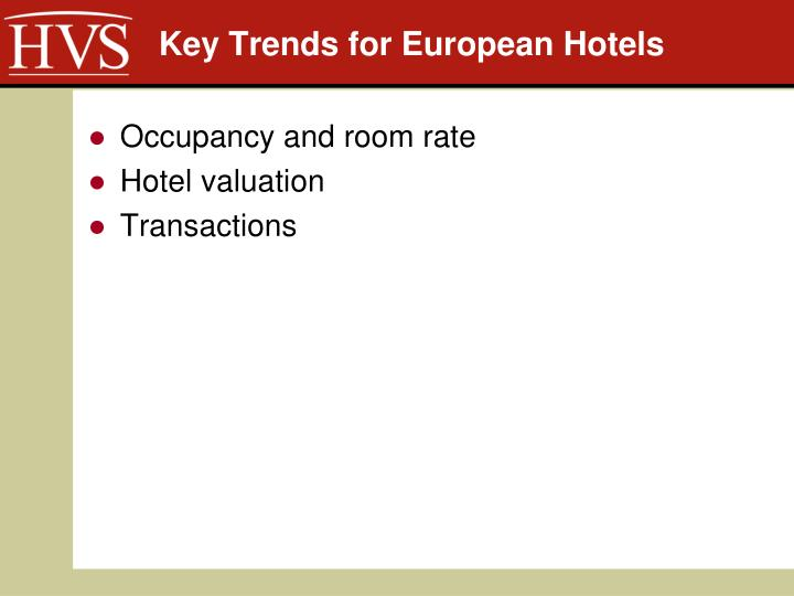 Key trends for european hotels